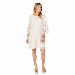 NWT Lace Bell Sleeve Ivory Maternity Swing Dress
